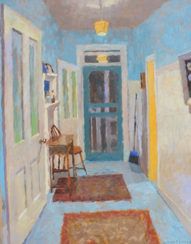 Downstairs-hall-at-night-30-x-24-inches-oil-on-canvas-sf-2017