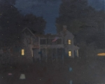 Big-house-at-night-with-lightning-bugs-17-x-21-inches-oil-on-canvas-sf-2017