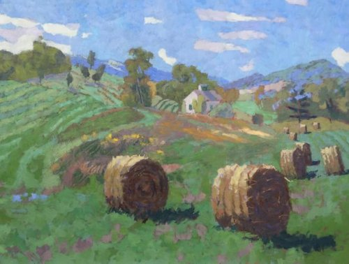 Warm Springs Hay Bales 30x40 oil on canvas