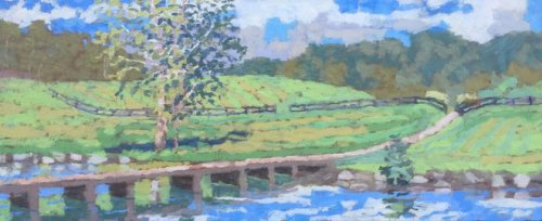 Windy Cove Bridge 11x26 oil on canvas