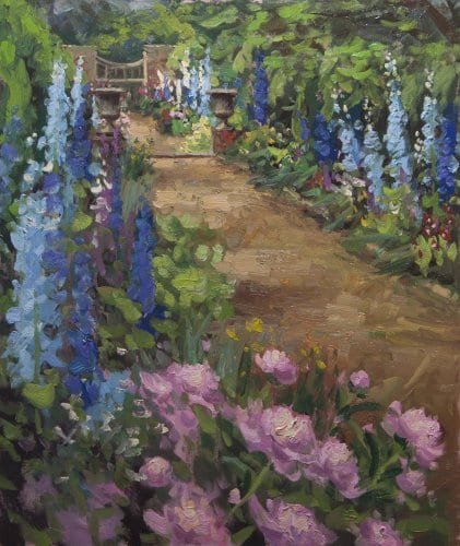 Delphiniums 24x20 oil on canvas