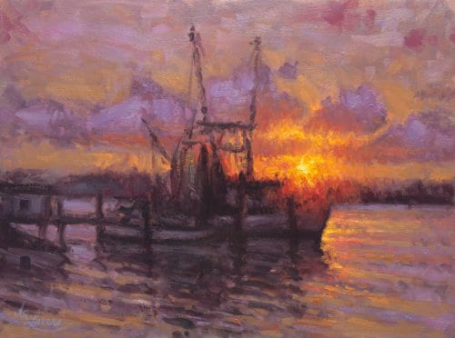 Lucero Sunset on the Water 18x24 oil on canvas