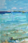 Saxon Languid Waters 10.75x7 gouache watercolor crayon on paper sold