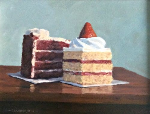 Lewis Have Your Cake and Eat it Too 9x12 oil on panel