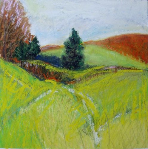 Early Autumn, Bath County 12x12 mixed media unframed