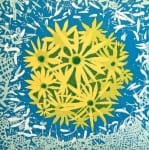 Stockton Jaune Bloom 36x36, wood block print on paper