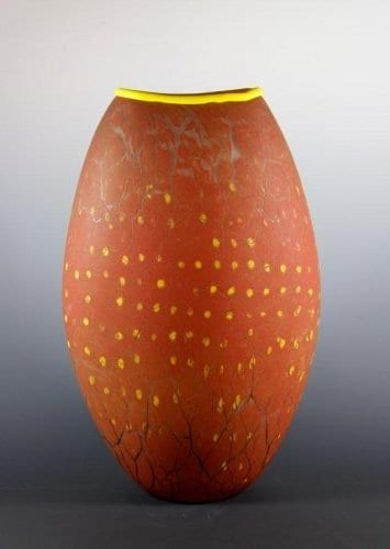 Tall Red Crackle Vase