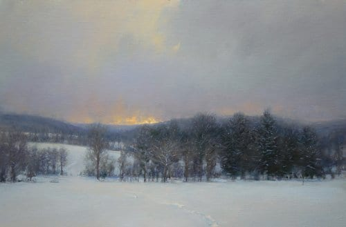 Flurries at Sunset 24x36 oil on canvas sold