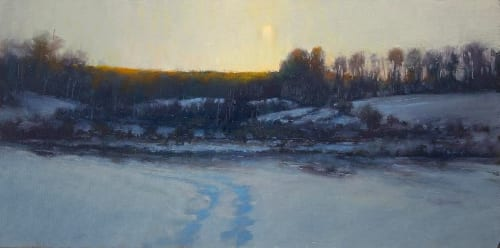 Winter Moon 12x24 oil on canvas sold