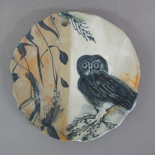 Small owl wall piece 6 D x 1 H