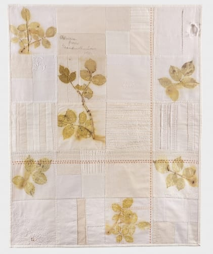 """Helleberg Reminiscence Rose  rose leaf eco printed vintage linen, tea dyed cotton backing, machine stitched, hand quilted, 26"""" x 32"""""""