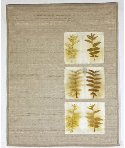 Helleberg Sumac study  eco printed wool and silk, appliquéed on natural linen, hand stitched, 23