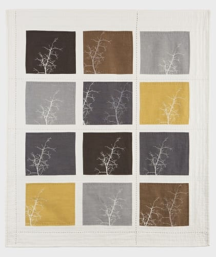"""Helleberg Tree Lines  Screen printed linen and vintage linen, silk and linen thread, hand stitched, 35"""" x 40"""""""