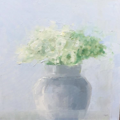 Floral with Blue Vase 24x24 oil on canvas
