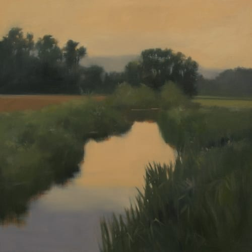 Evening Creek 36x36 oil on canvas on loan Southern Living House
