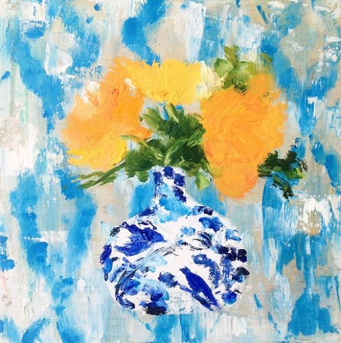 Parke-Marigolds-in-Bird-Vase-12x12-oil on canvas