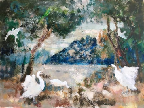 Parke-Swans-of-Capri-30x40-oil on canvas