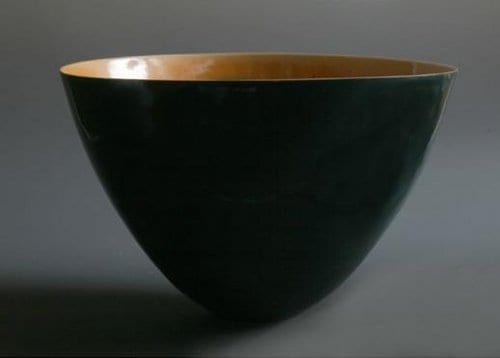 Large mixed porcelain bowl, bronze interior slate exterior