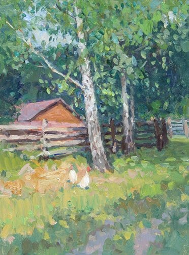 Chickens and Birches 16x12 oil on canvas