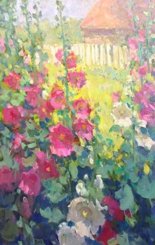 Hollyhocks 30x20 oil on