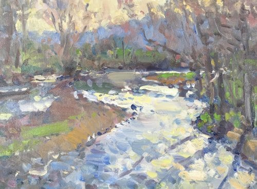 River Shimmer 12x16 oil on canvas