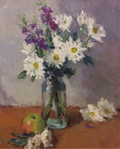 Still Life with Daisies 20x16 oil on canvas