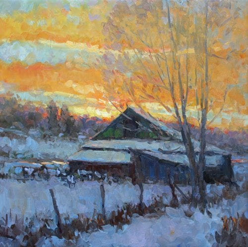 Winter Glow 24x24 oil on canvas