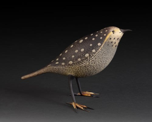 """Appalachian Thraser.  Flameworked glass & acid-etched. 3.8""""h x 6.5""""w x 3.5""""d. 2015 sold"""