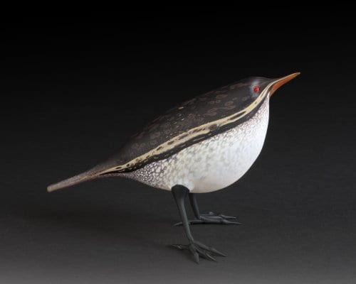 "Dark-backed Wren. Flameworked glass & acid-etched. 3.5""h x 6.5""w x 3.25""d. 2015."