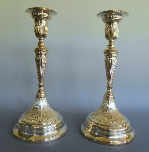 Fluted tapering candlesticks 11.5in h