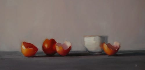 Eggshells 8x16 oil on panel