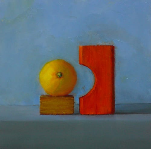 Lemon with Building Block 8x8 oil on board