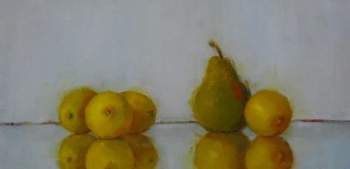 Lemons and Pear 8x16 oil on panel