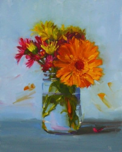 Orange Dahlia 8x10 oil on panel