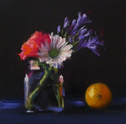 Flowers with Lemon, 8x8 oil on panel