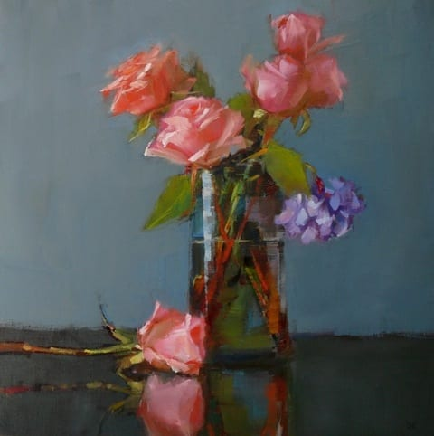 Pink Roses with Hydrangeas, 12x12 oil on panel