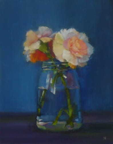 Two Carnations, 10x8 oil on panel