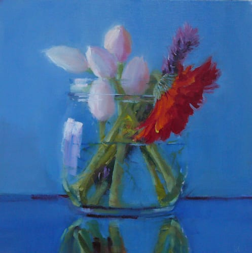 White Tulips with Red Daisy 10x10 oil on board